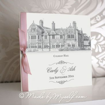 Colshaw Hall Pocketfold Wedding Invitation - Includes RSVP & Guest Information